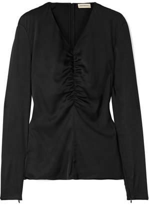 By Malene Birger Ifaya Gathered Silk-blend Satin Top - Black