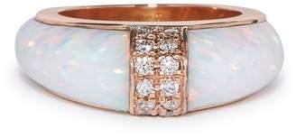 Diamond, opal & rose-gold ring
