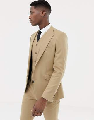 Asos DESIGN skinny suit jacket in camel micro texture