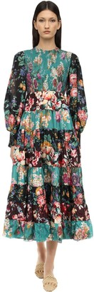 Zimmermann PRINTED SILK DRESS W/ SMOCKED DETAILS