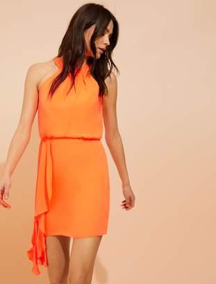 Halston Asymmetric drape silky georgette dress