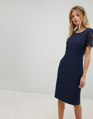 French Connection Bodycon Lace Sleeve Dress