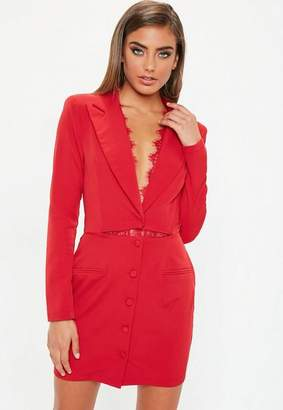 Missguided Red Lace Insert Cut Out Blazer Dress