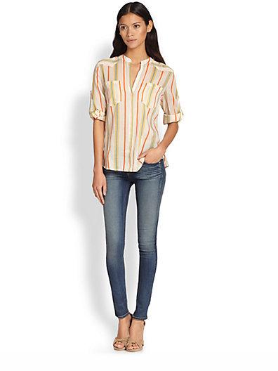 BCBGMAXAZRIA Gibson Cotton & Silk Striped Shirt