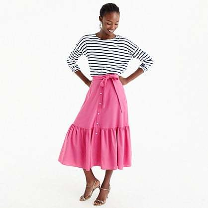Collection tie-waist button-front skirt in Italian wool