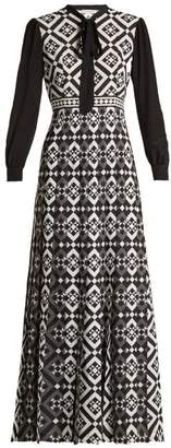Mary Katrantzou Duritz Tile Print Crepe De Chine Dress - Womens - Black White