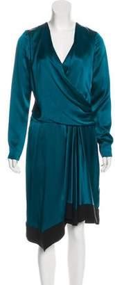 J. Mendel Silk Long Sleeve Midi Dress