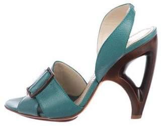 Alberta Ferretti Leather Slingback Sandals