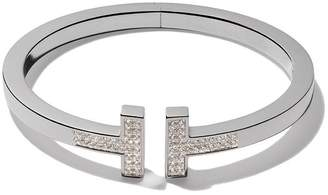 Tiffany & Co. & Co 18kt white gold T square diamond cuff