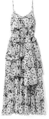 Lisa Marie Fernandez Imaan Tiered Floral-print Cotton-voile Maxi Dress - Black