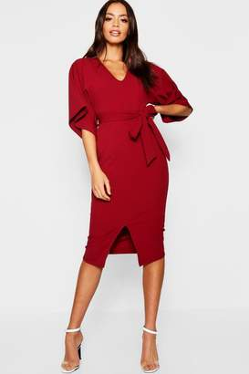 boohoo Kimono Sleeve Split Front Midi Dress