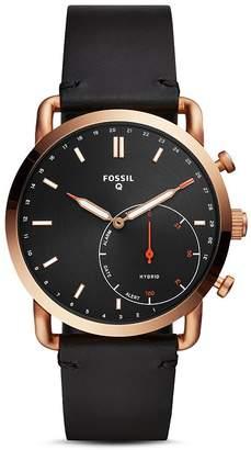 Fossil Commuter Black Leather Strap Hybrid Smartwatch, 42mm
