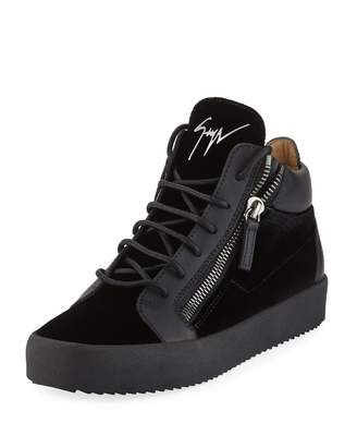 Giuseppe Zanotti Men's Velvet & Leather Mid-Top Sneakers