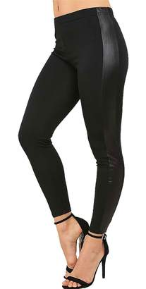 Rimi Hanger Women High Waist Wet Look Side Panel Legging XX Large