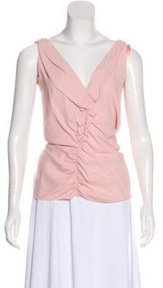 Prada Ruched Sleeveless Blouse
