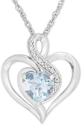 Macy's Aquamarine (1-1/10 ct. t.w.) & Diamond Accent Heart Pendant Necklace in Sterling Silver