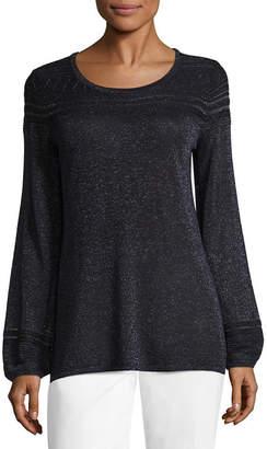 Liz Claiborne Long Sleeve Scoop Neck Metallic Pullover Sweater