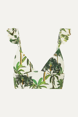 Agua Bendita Agua by Geranium Ruffled Printed Bikini Top - Green