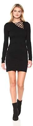 Pam & Gela Women's L/s Asymetric Lace up Detail Dress