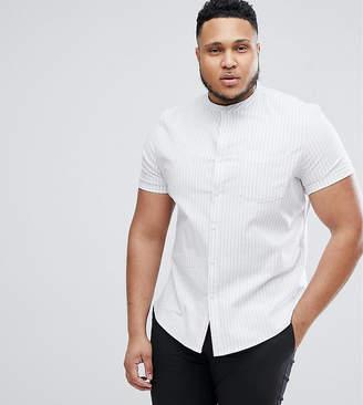 Asos PLUS Stretch Slim Oxford Stripe Shirt With Grandad Collar