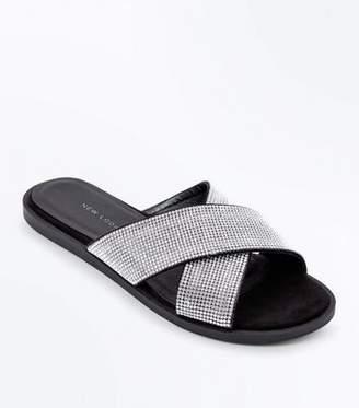 New Look Wide Fit Black Diamanté Cross Strap Sliders