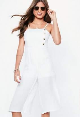 Missguided White Button Front Culotte Romper