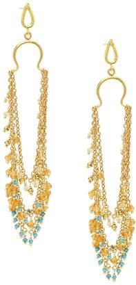 Azaara Women's 22K Goldplated Sterling Silver & Multi-Stone Drop Earrings