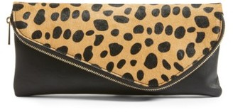 Sole Society Tamika Genuine Calf Hair & Faux Leather Foldover Clutch - Brown $79.95 thestylecure.com
