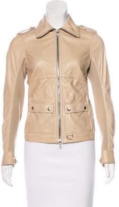 Prada Sport Knit-Trimmed Leather Jacket