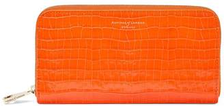 Aspinal of London Continental Clutch Zip Wallet In Deep Shine Amber Small Croc