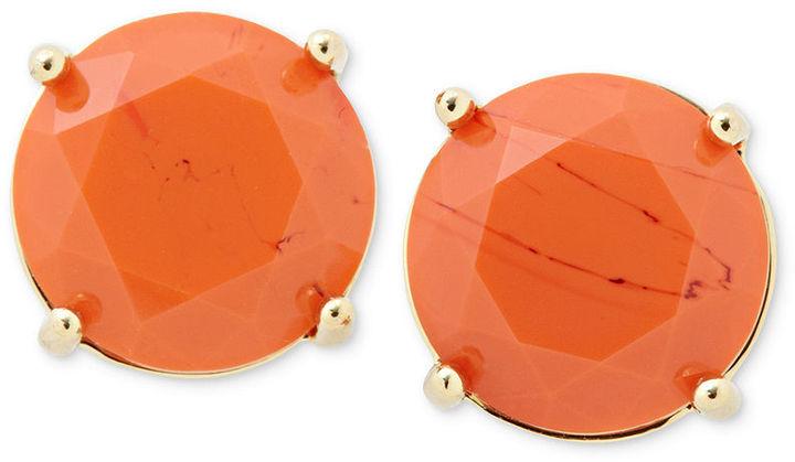 Fossil Earrings, Gold-Tone Orange Glass Stud Earrings