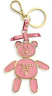 Prada Women's Saffiano Leather Bear Keychain