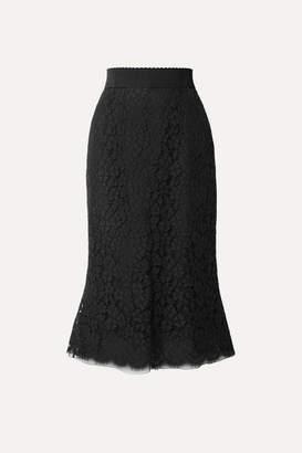 Dolce & Gabbana Cotton-blend Guipure Lace Midi Skirt - Black