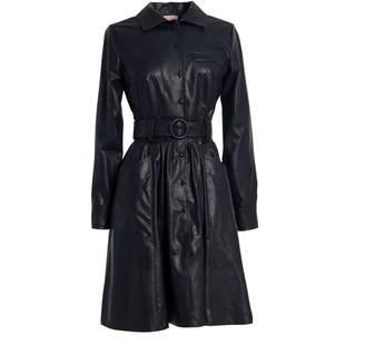 Tomcsanyi Ganz Midnight Blue Vegan Leather Shirt Dress