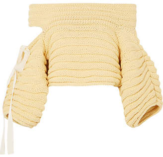 Bahia Off-the-shoulder Cutout Ribbed Cotton Sweater - Yellow