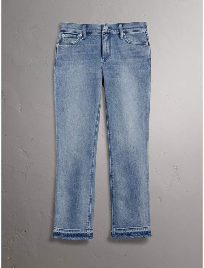 Burberry Slim Fit Frayed Cropped Jeans