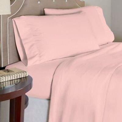 Bed Bath & Beyond Pointehaven 175 GSM Solid Flannel Twin Sheet Set in Rose Quartz