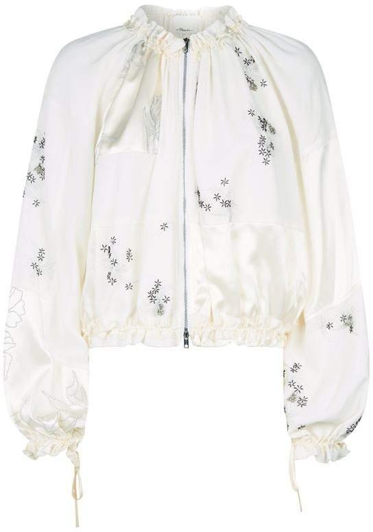 Embellished Silk Bomber Jacket