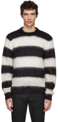 Saint Laurent Black and White Striped Mohair Sweater