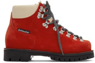 Proenza Schouler (プロエンザ スクーラー) - Proenza Schouler レッド レースアップ ハイキング ブーツ