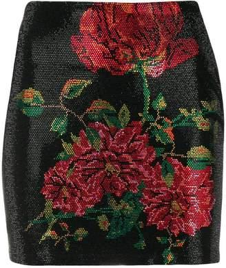 Philipp Plein rhinestone floral mini skirt