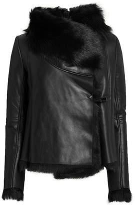 Michelle Mason Black Shearling Jacket