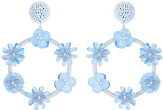 Oscar de la Renta Flower Hoop Drop Earrings