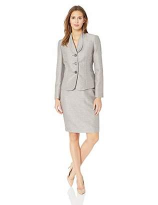 Le Suit Women's 3 Button Shawl Collar Tweed Skirt Suit