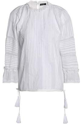 Love Sam Crochet-Trimmed Pintucked Cotton-Voile Blouse