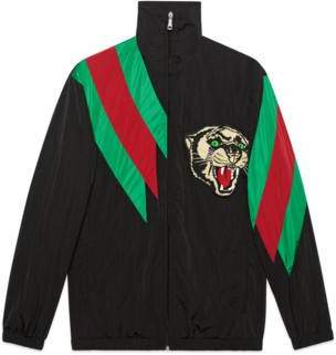 Gucci Oversize nylon jacket with Web intarsia