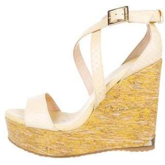Jimmy Choo Embossed Crossover Wedge Sandals