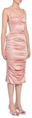 Dolce & Gabbana Ruched Satin Lace-Up Dress
