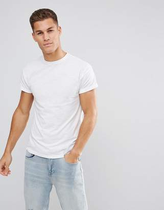 New Look T-Shirt With Roll Sleeve In White