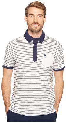 U.S. Polo Assn. Slim Fit Striped Short Sleeve Pique Polo Shirt Men's Short Sleeve Pullover